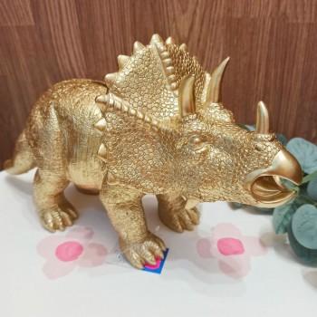 Hucha dinosaurio dorada